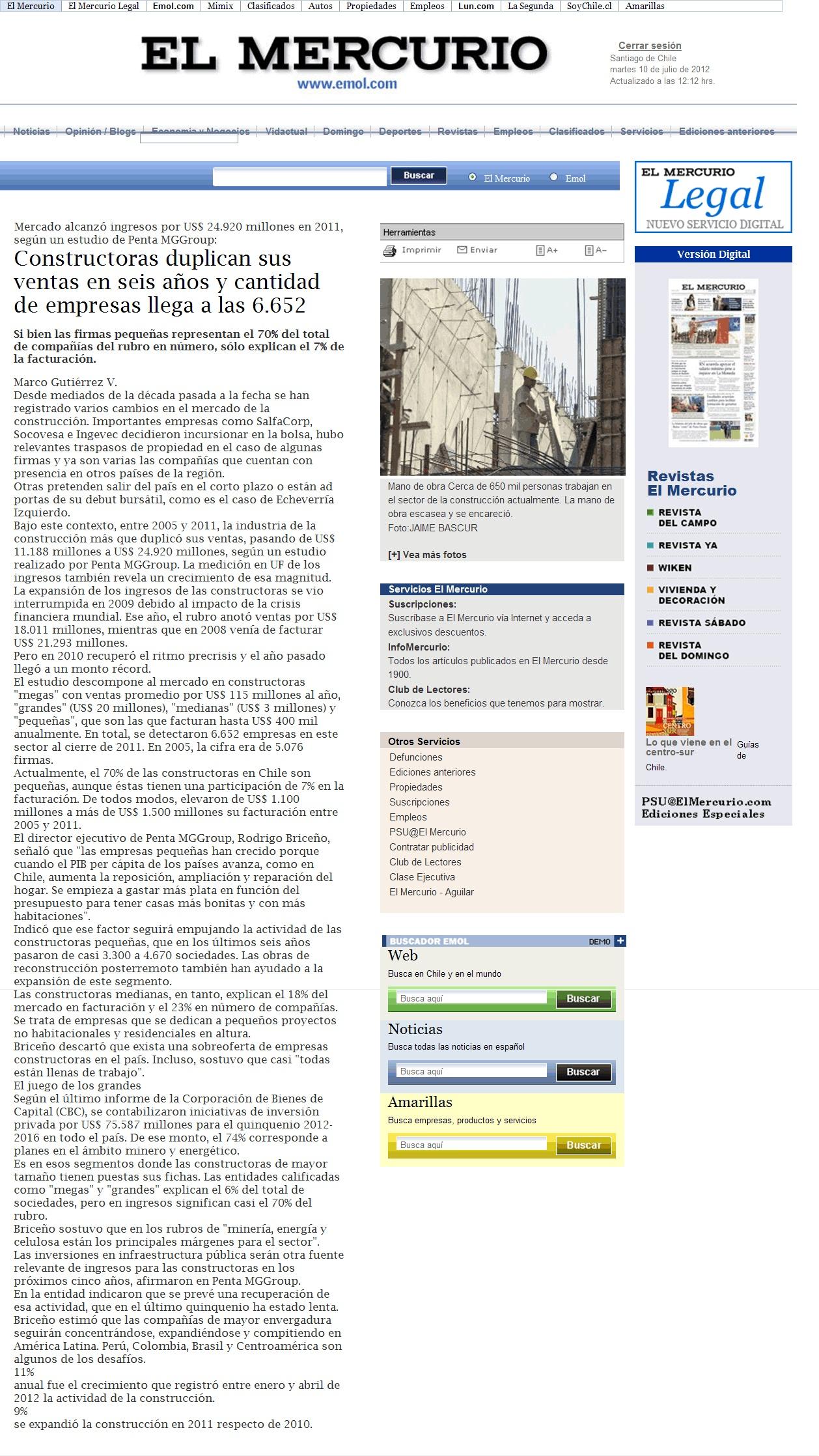 Mercado Alcanzó Ingresos Por US$24.920 Millones En 2011, Según Un Estudio De PMG Group